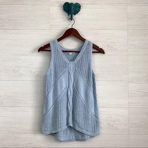 CAbi Blue Silk Linen Open Knit Sleeveless Tank